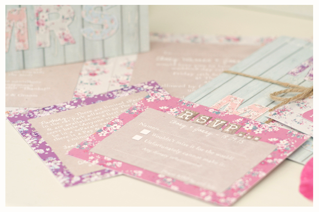 floral rustic wedding stationery and invitations