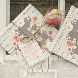 rose cottage rustic floral pastel wedding stationery & invitations