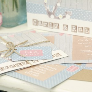 seaside nautical rustic pastel wedding stationery & invitations