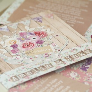 teapot rustic vintage floral pastel bright wedding stationery & invitations