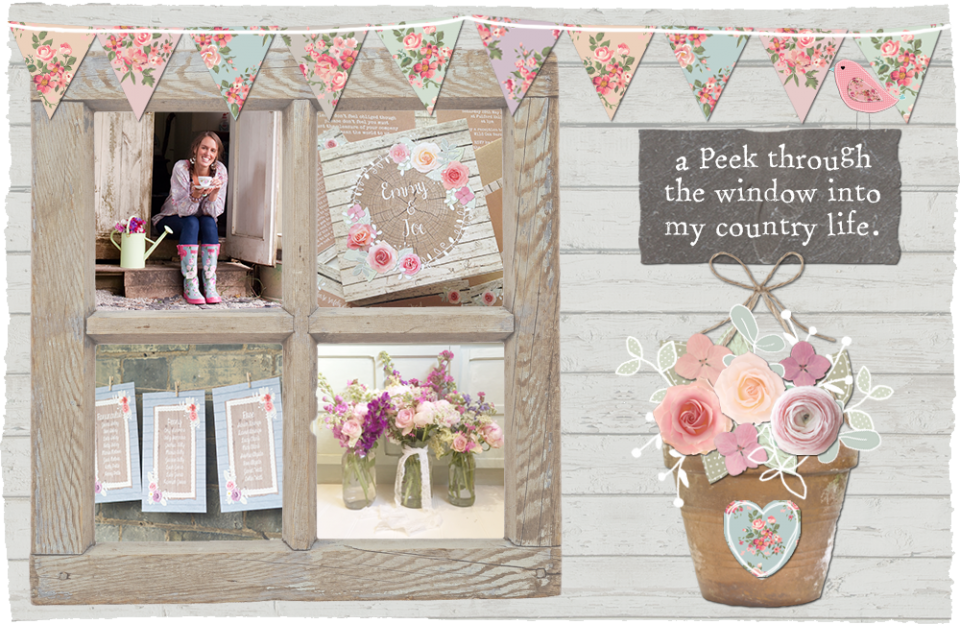 Sarah wants wedding stationery and invitations rustic floral country shabby chic bunting flower crown barn mint coral peach