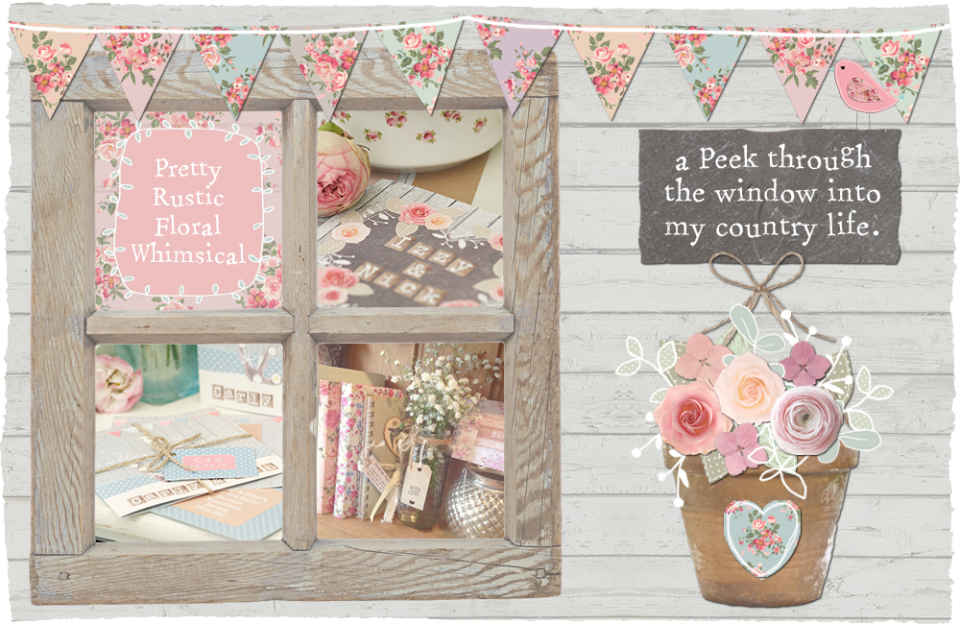 Sarah wants rustic whimsical wedding stationer and invitations country floral roses lace pastel bunting seaside cornwall teapot garden cath kidston shabby chic