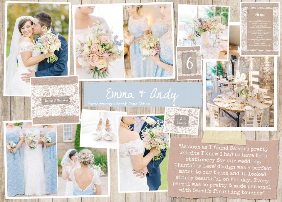 Emma & Andy  Rustic country vintage shabby chic floral cath kidston wedding invitations and stationery