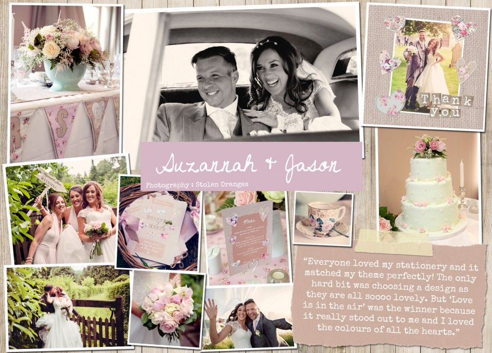 SUZANNAH JASON  Rustic country vintage shabby chic floral cath kidston wedding invitations and stationery