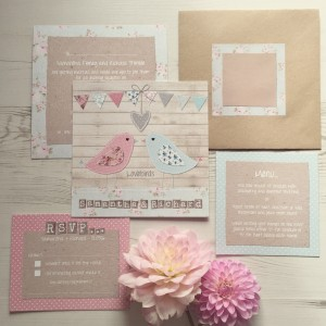 Lovebirds, love birds, pastel duck egg coral bunting floral wedding stationery and invitations