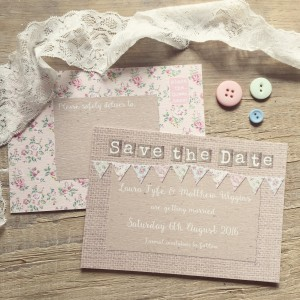 Country wedding Save the Dates stationery invitations floral pastel bunting