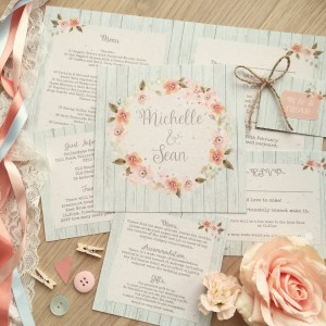 Prairie Peach rustic pastel floral blush coral garden whimsical rustic wedding stationery and invitations