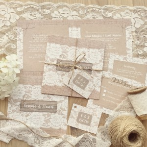 lace hessian rustic pretty wedding stationery invitations