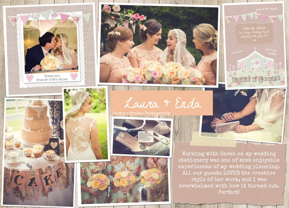 Laura & Enda rustic whimsical country floral pretty shabby chic bunting wedding stationery wedding invitations