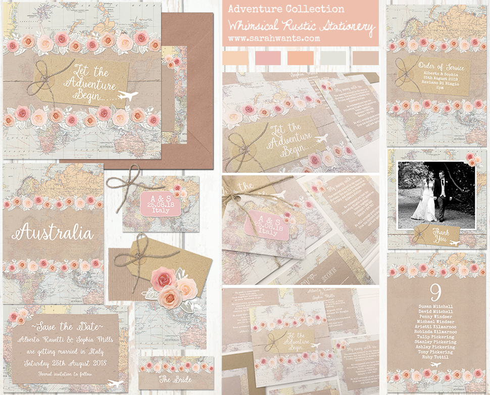 Sarah Wants Adventure rustic country vintage wedding stationery and invitations, travel, map, adventure, explore, international wedding, overseas wedding, abroad wedding, Greece, Greek, Italy, Italian, Spain, Spanish, France, French, aeroplane, flight,