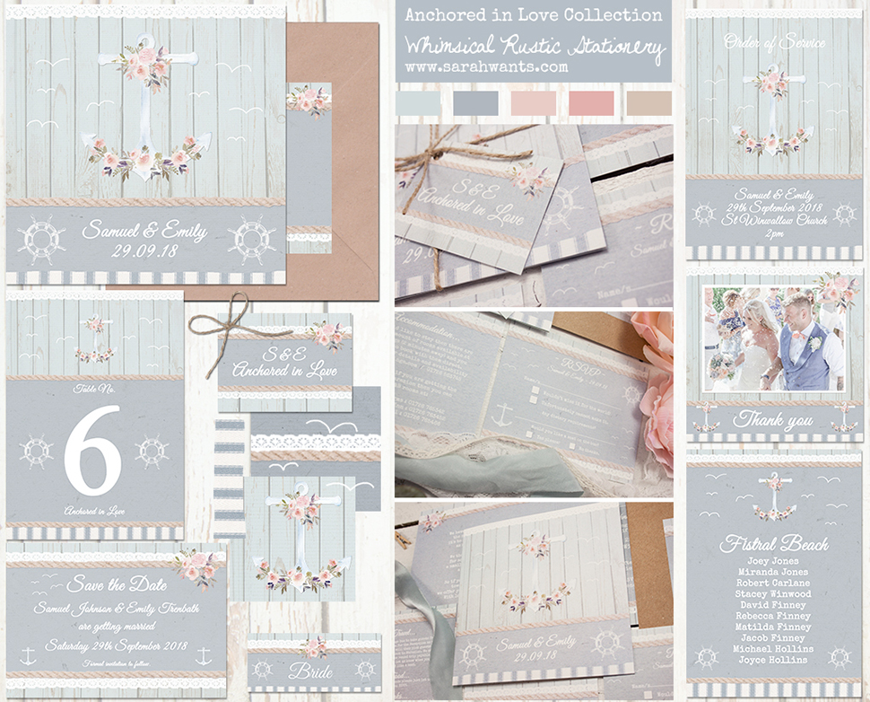 Sarah Wants Anchored in Love Rustic country vintage wedding stationery and invitations, seaside, coast, nautical, beach, sea, international, abroad, summer beach, anchor, boat, guls, flowers, blush, blue, mint