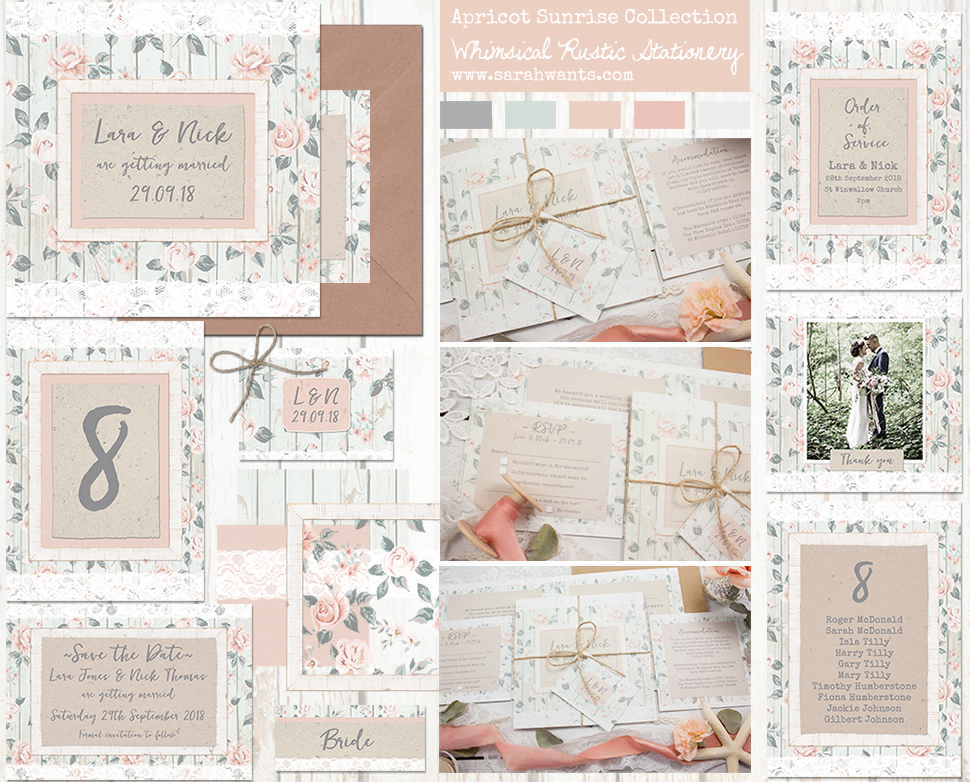 Sarah Wants Apricot Sunrise Rustic country vintage wedding stationery and invitations, apricot, peach, floral, rose, pattern, lace, flowers, classic, tropical,