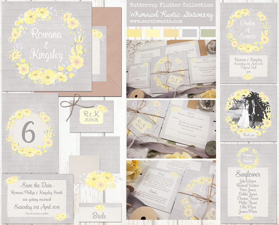 Sarah Wants Buttercup Flutter Rustic country vintage wedding stationery and invitations, grey, yellow, buttermilk yellow, buttercup yellow, rustic, pastel, floral, flowers, whimsical, wreath, rustic twine, rustic bow, wood