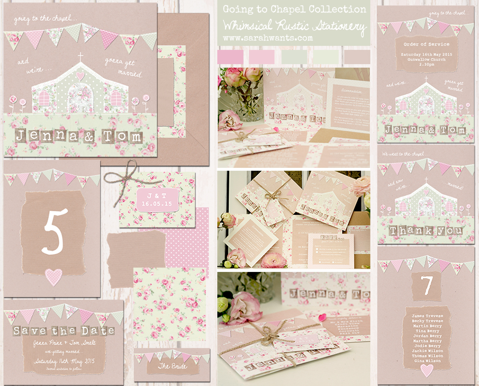 Sarah Wants Going to the Chapel Rustic country vintage wedding stationery and invitations, chapel, church, floral, flowers, pattern, shabby chic, bunting, lace, kraft, rustic, pretty, cute