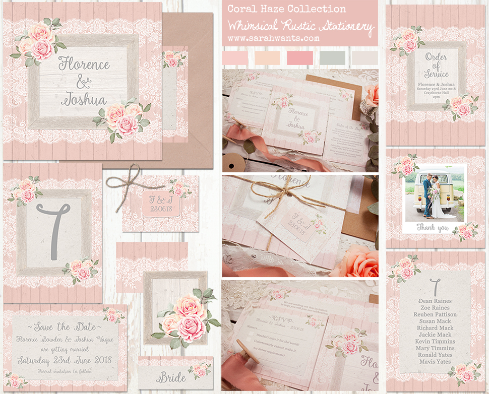 Sarah Wants Coral Haze Rustic country vintage wedding stationery and invitations, coral, peach, pink, roses, floral, lace, wood, summer garden, vintage, delicate, pastel, pretty, elegant, gorgeous