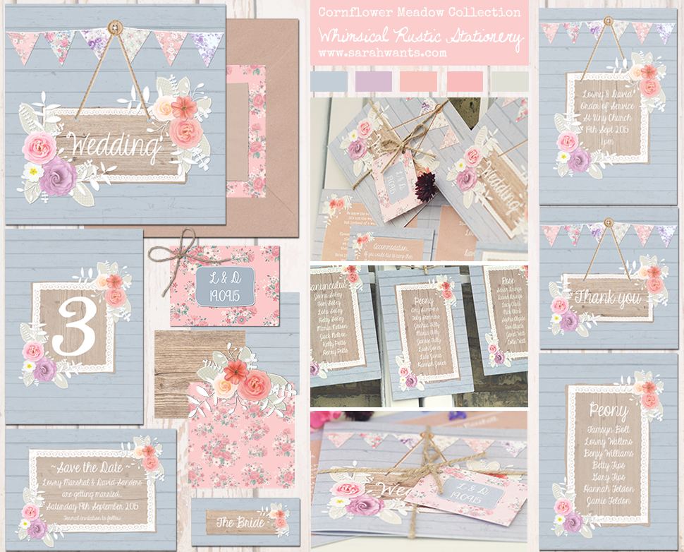 Sarah Wants Cornflower Meadow Rustic country vintage wedding stationery and invitations, cornflower blue, bright flowers, pink, peach, bunting, pattern, floral, flowers, shabby chic, wood,