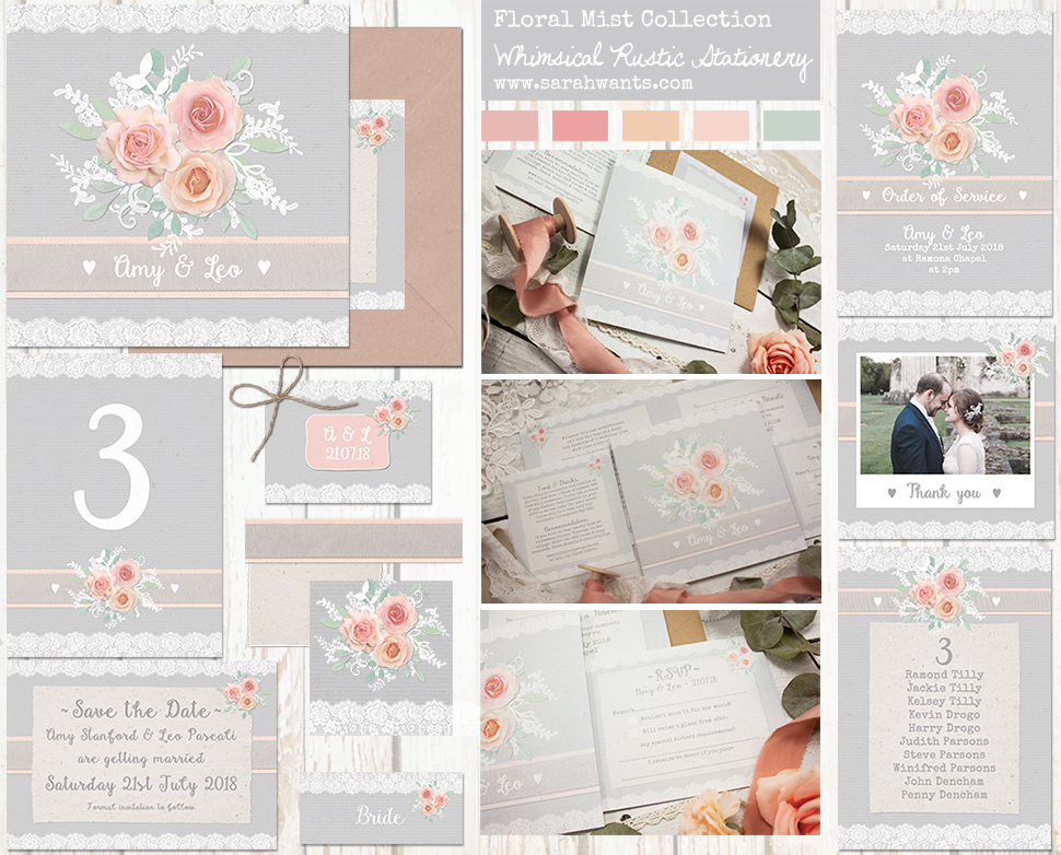 Sarah Wants Floral Mist Rustic country vintage wedding stationery and invitations, grey, peach, pink, apricot, ribbon, lace, soft, muted, pastel, pretty, flowers, floral