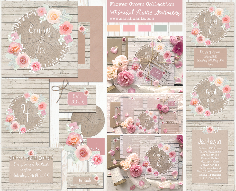 Sarah Wants Flower Crown Rustic country vintage wedding stationery and invitations, floral, flowers, roses, pastel, pink, peach, cream, coral, wood, log, whimsical, pretty, flowercrown