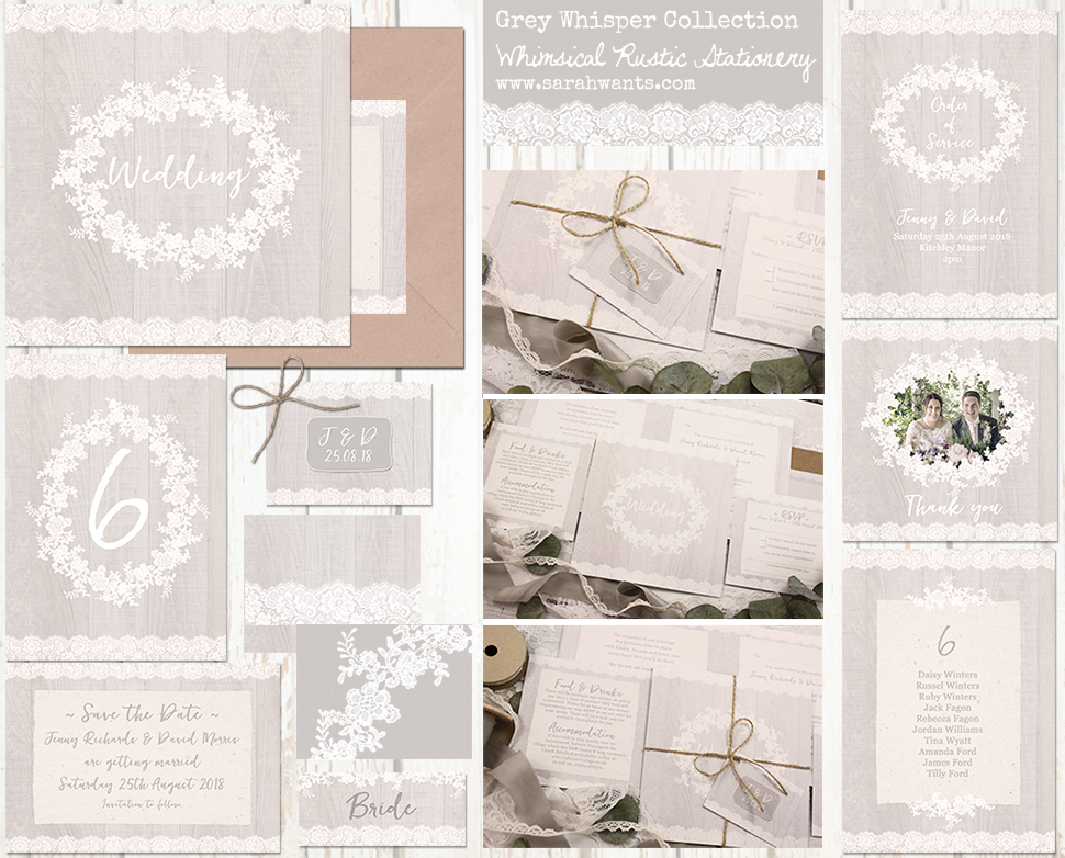 Sarah Wants Grey Whisper Rustic country vintage wedding stationery and invitations, grey, cloud, lace, applique, pattern, pretty, delicate, detail, elegant, delicate, muted, classic