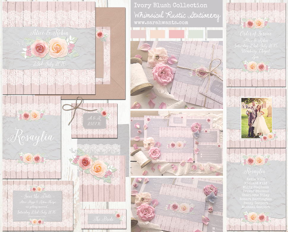 Sarah Wants Ivory Blush Rustic country vintage wedding stationery and invitations, blush pink, grey, lace, wood, flowers, vintage, floral, pretty, pastel, whimsical, summer garden