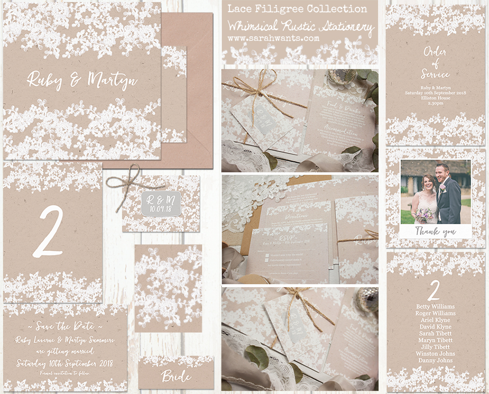 Sarah Wants Lace Filigree Rustic country vintage wedding stationery and invitations rustic, kraft, lace, applique, filigree, pretty, pattern, elegant, delicate, lace