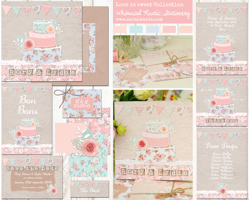 Sarah Wants Love is Sweet Rustic country vintage wedding stationery and invitations, wedding cake, pastel pink, powder blue, mint, floral, flowers, roses, bunting, sweets, shabby chic, cute