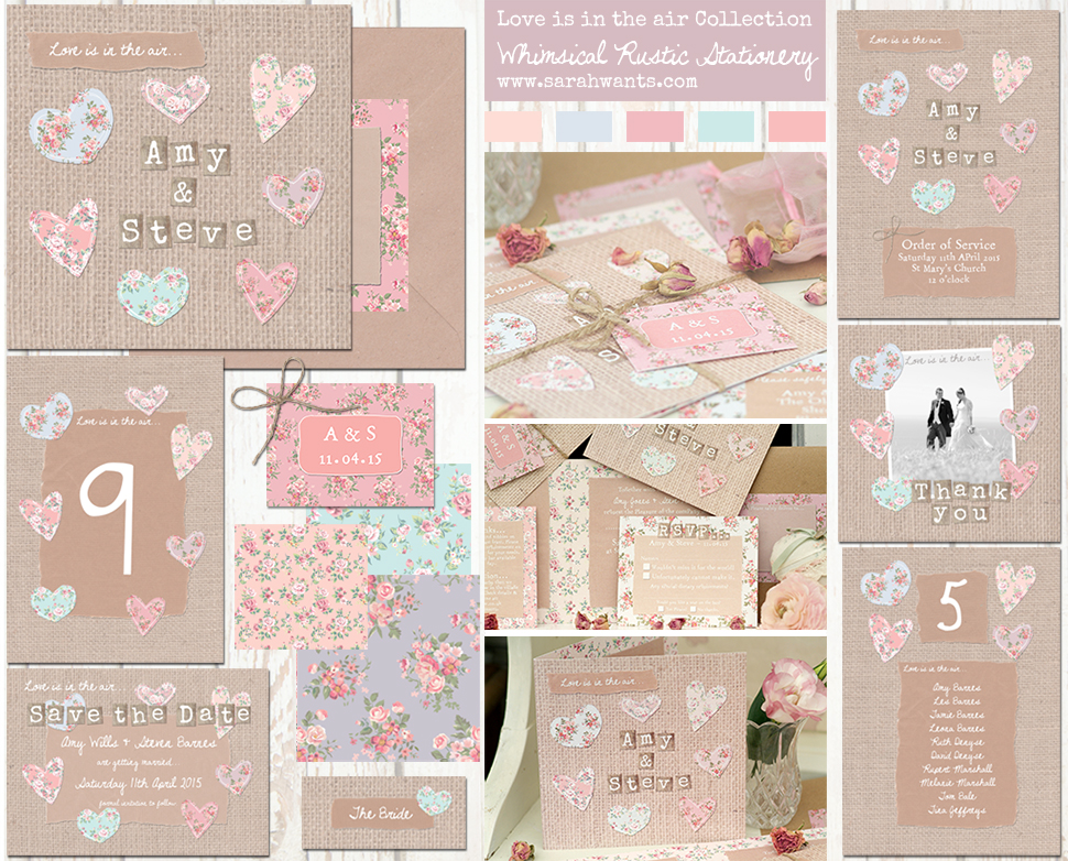 Sarah Wants Love is in the air Rustic country vintage wedding stationery and invitations hessian, shabby chic, floral, pattern, pastel, hearts, heart, love heart loveheart