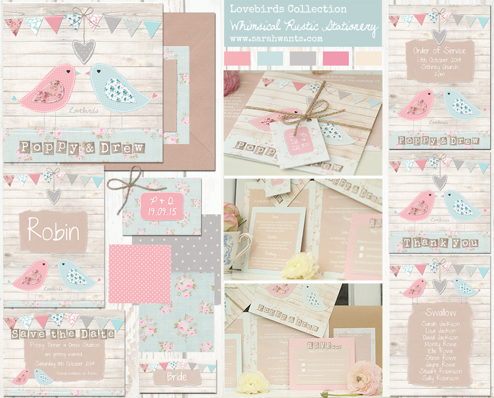 Sarah Wants Lovebirds Rustic country vintage wedding stationery and invitations love birds, birds, coral, pink, mint, blue, duck egg, wood, bunting, cute, shabby chic, floral, pattern, pastel pretty