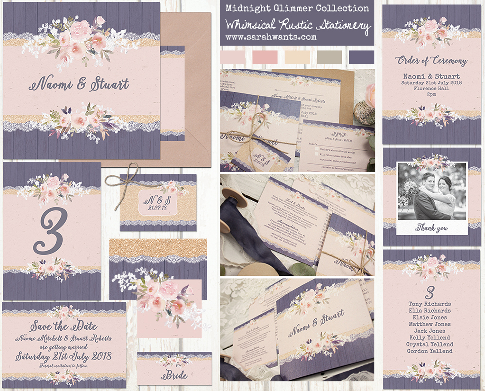 Sarah Wants Midnight Glimmer Rustic country vintage wedding stationery and invitations midnight blue navy blush pink gold glitter lace floral flowers lace