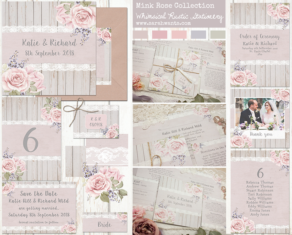 Sarah Wants Mink Rose Rustic country vintage wedding stationery and invitations, dusky rose pink blush lilac grey floral flowers lace whimsical summer garden elegant classy