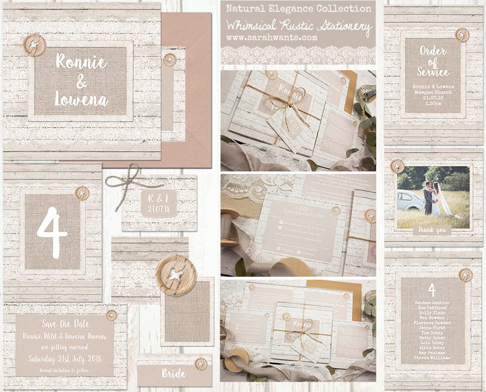 Sarah Wants Natural Elegance Rustic country vintage wedding stationery and invitations hessian, lace, burlap, wood, mocha, rustic, pretty, button, delicate, elegant