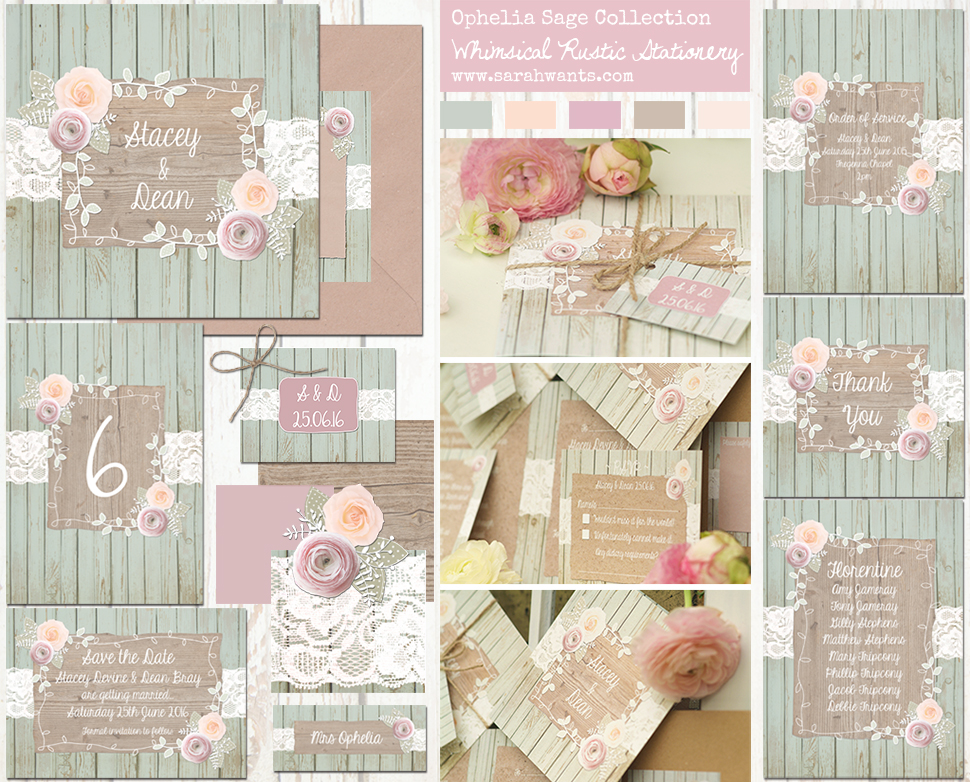 Sarah Wants Rustic country vintage wedding stationery and invitations Ophelia Sage green, floral, flowers, roses, lace, wood, summer, garden, pastel, pretty, whimsical