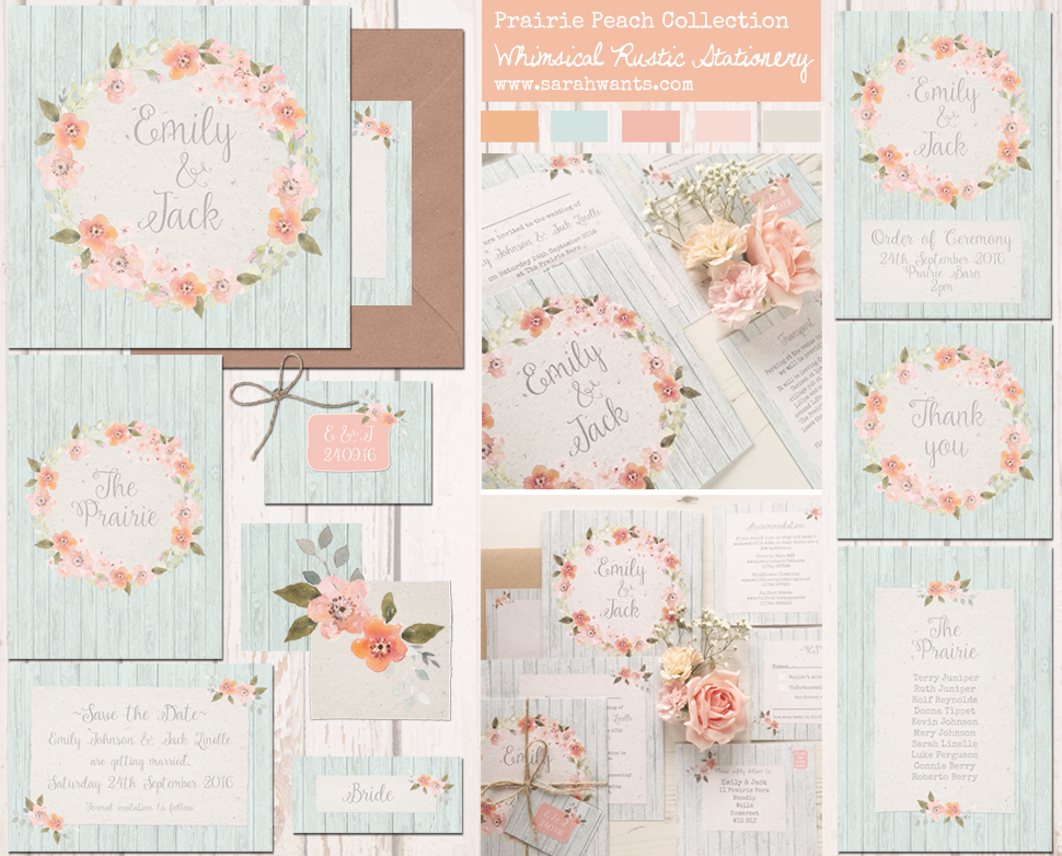 Sarah Wants Rustic country vintage wedding stationery and invitations prairie peach, peach, blush, duck egg, mint, floral, wreath, flowers, pretty, pastel, whimsical