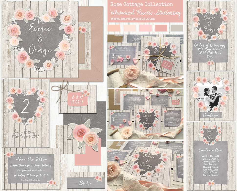 Sarah Wants Rose Cottage Rustic country vintage wedding stationery and invitations, roses, pastel, peach, pink, chalkboard, slate, summer garden, heart, pretty, pastel, floral, cottage, flowers, shabby chic