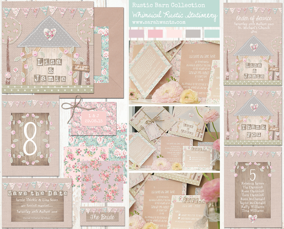 Sarah Wants Rustic Barn Rustic country vintage wedding stationery and invitations, barn wedding, oak barn, pastel, bunting, pretty, floral, flowers, shabby chic, rustic bow, rustic twine,