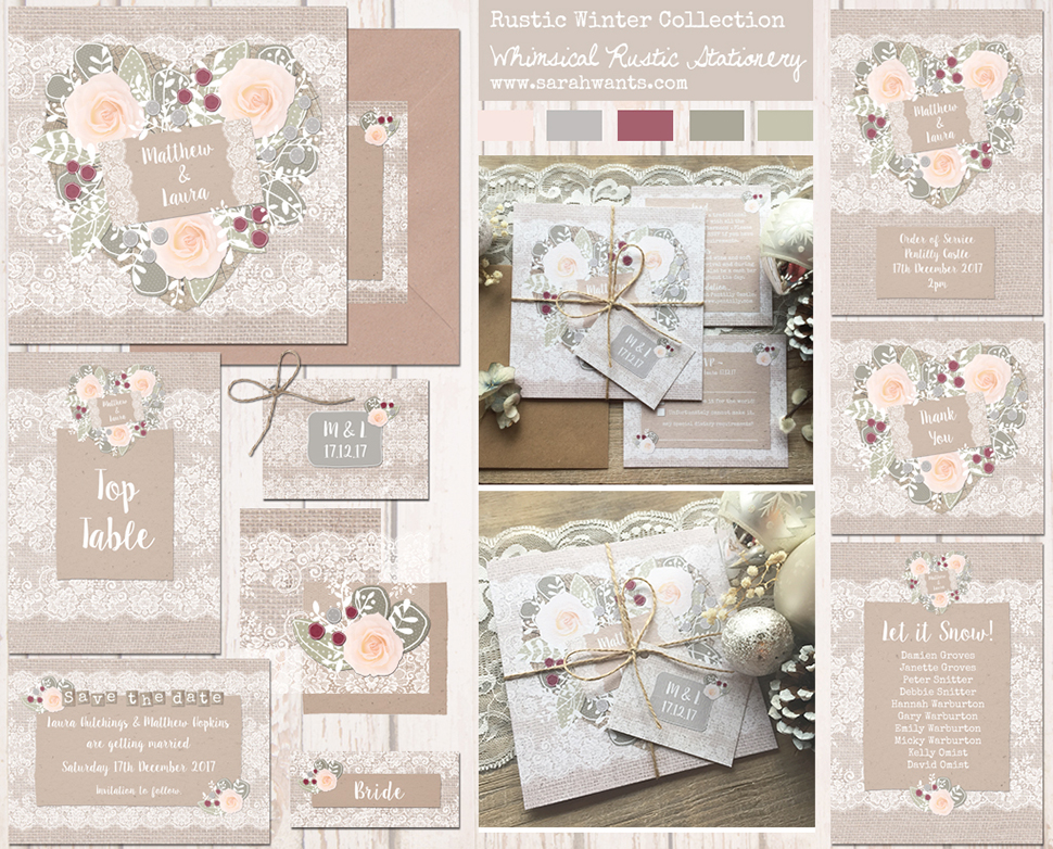 Sarah Wants Rustic Winter Rustic country vintage wedding stationery and invitations, winter wedding, christmas wedding, wonderland, hessian, burlap, lace, rustic christmas, elegant, pretty, autumn, fall, winter.