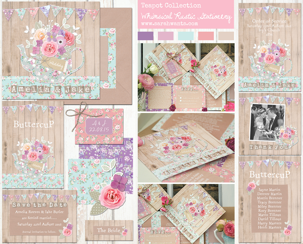 Sarah Wants Teapot Rustic country vintage wedding stationery and invitations, teapot, tea pot, teaparty, tea party, bright, bunting, floral, pastel, flowers, pattern, shabby chic, wood, pretty