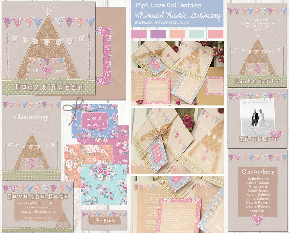 Sarah Wants Tipi Love Rustic country vintage wedding stationery and invitations, tipi, teepee, festival, glastonbury, bright, bunting, outdoor wedding, shabby chic, floral, pattern, cute