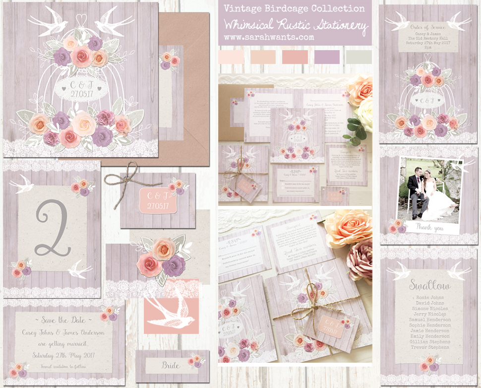Sarah Wants Vintage Birdcage Rustic country vintage wedding stationery and invitations, bird, birds, birdcage, bird cage, vintage, lilac, swallow, roses, floral, peach, pink, purple, roses, dusky lilac, lace,
