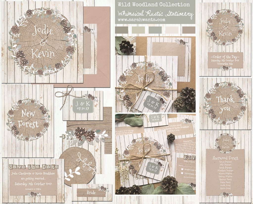 Sarah Wants Wild Woodland Rustic country vintage wedding stationery and invitations, woodland, wild, forest, pine, pine cones, pinecones, whimsical, foliage, log, woods, wood, rustic