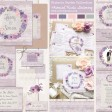 Sarah Wants Wisteria Garden Rustic country vintage wedding stationery and invitations, lilac, lavender, dusky, purple, plum, berry, lace, wood, vintage, lace, floral, flowers, wreath, pretty, pastel, vintage thumbnail