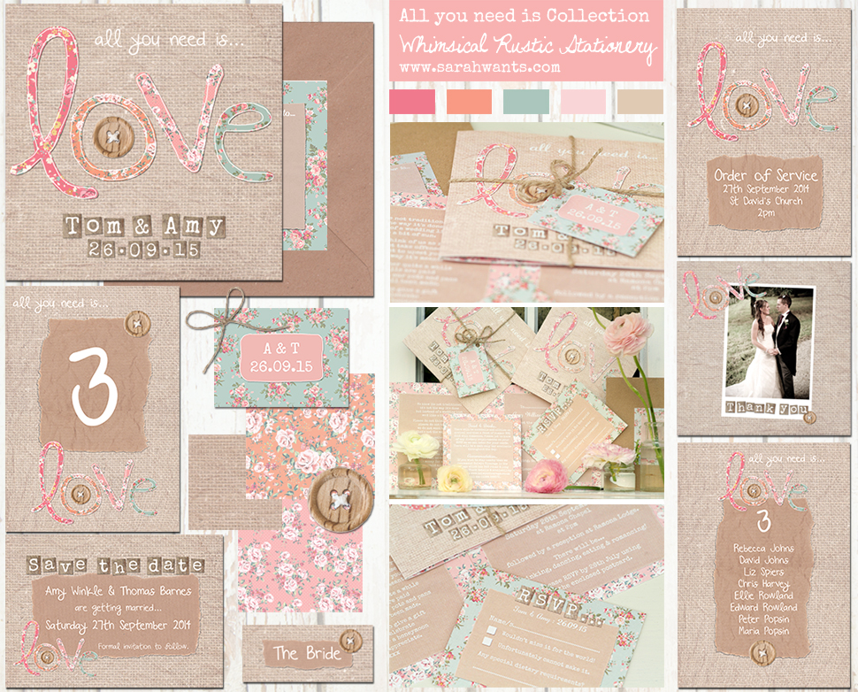 Sarah Wants all you need is love rustic country vintage wedding stationery and invitations, rustic bright, pattern, floral, hessian, burlap, rustic twine, wooden button, rustic bow, shabby chic, applique, bright letters, love letters