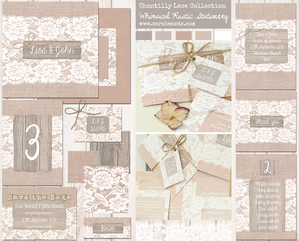 Sarah Wants Chantilly Lace Rustic country vintage wedding stationery and invitations, hessian, lace, elegant, pretty, simplistic, classic, elegant, rustic barn, rustic bow, twine, burlap, lace