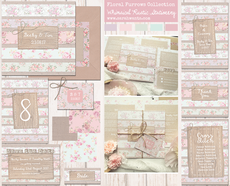 Sarah Wants Floral Furrows Rustic country vintage wedding stationery and invitations, pastel, floral, shabby chic, fabric, sewn, stitching, handmade, pattern, rustic bow, pretty