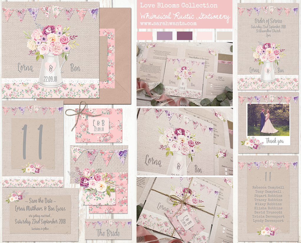 Sarah Wants Floral Blooms, rustic vintage country floral wedding stationery and invitations, floral, bright, flowers. bunting, pink, purple, whimsical, rustic, pretty, shabby chic