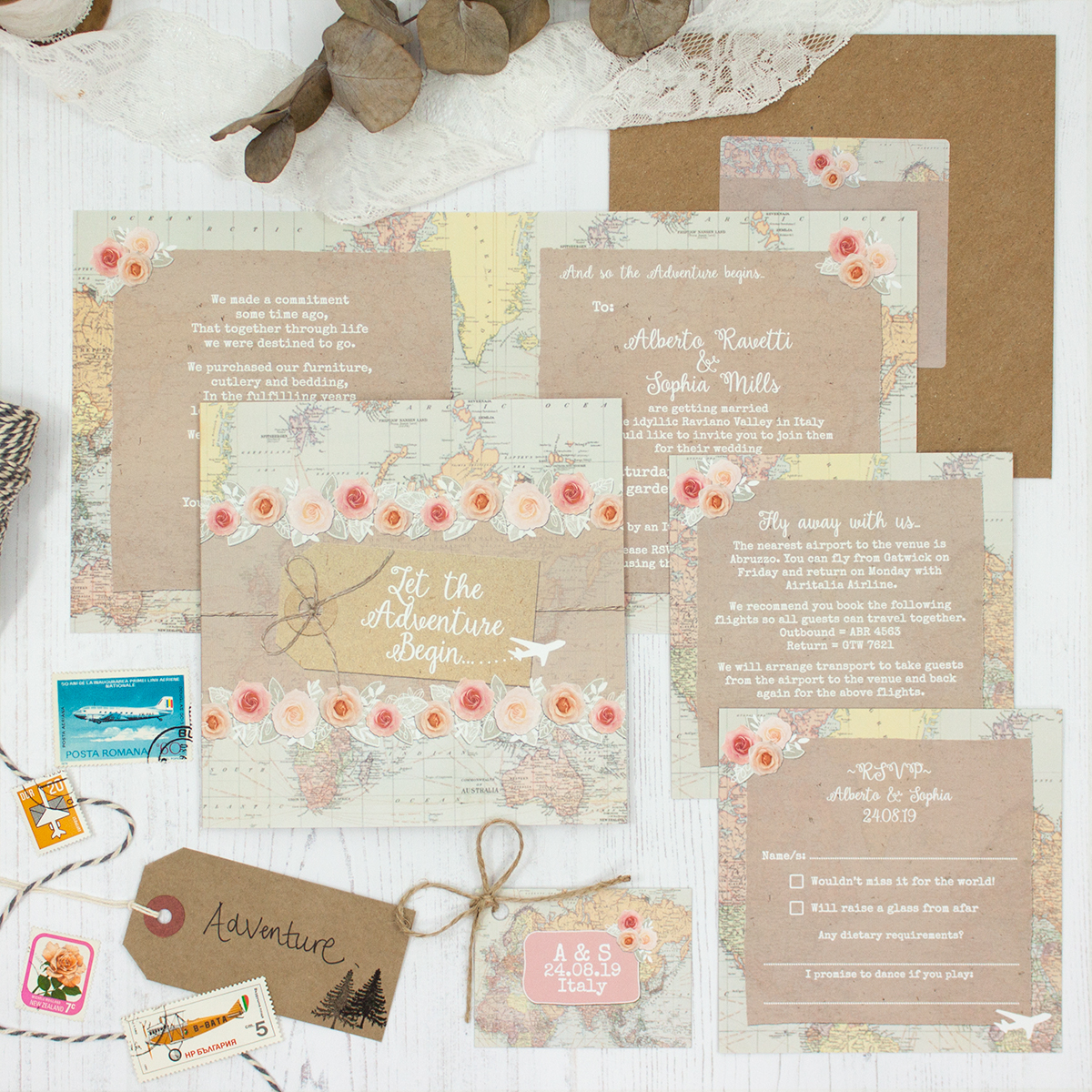 Adventure Wedding showing invitation