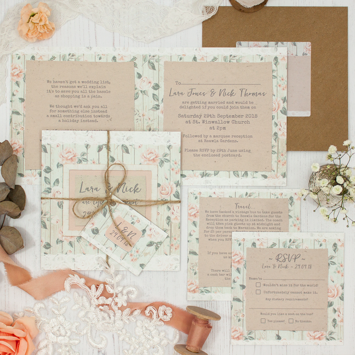 Apricot Sunrise Wedding showing invitation