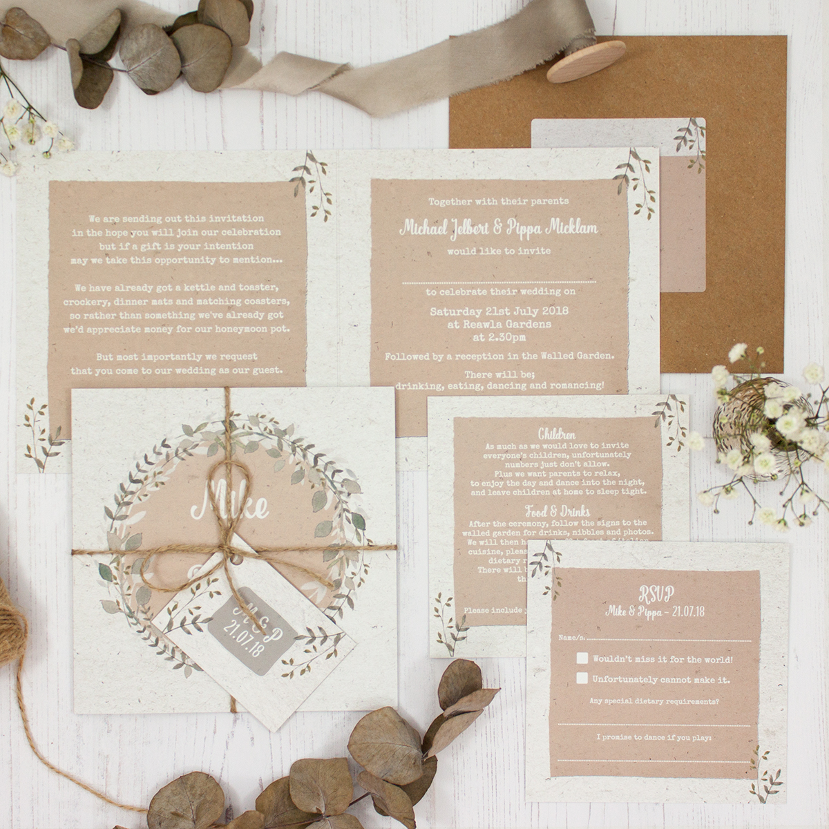 Botanical Garden Wedding showing invitation