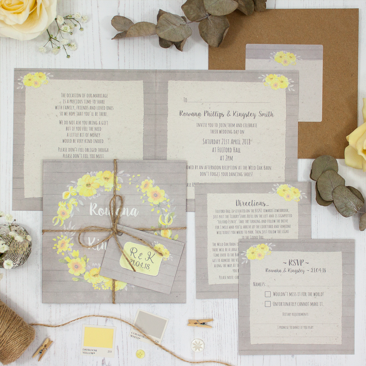 Buttercup Flutter Wedding showing invitation