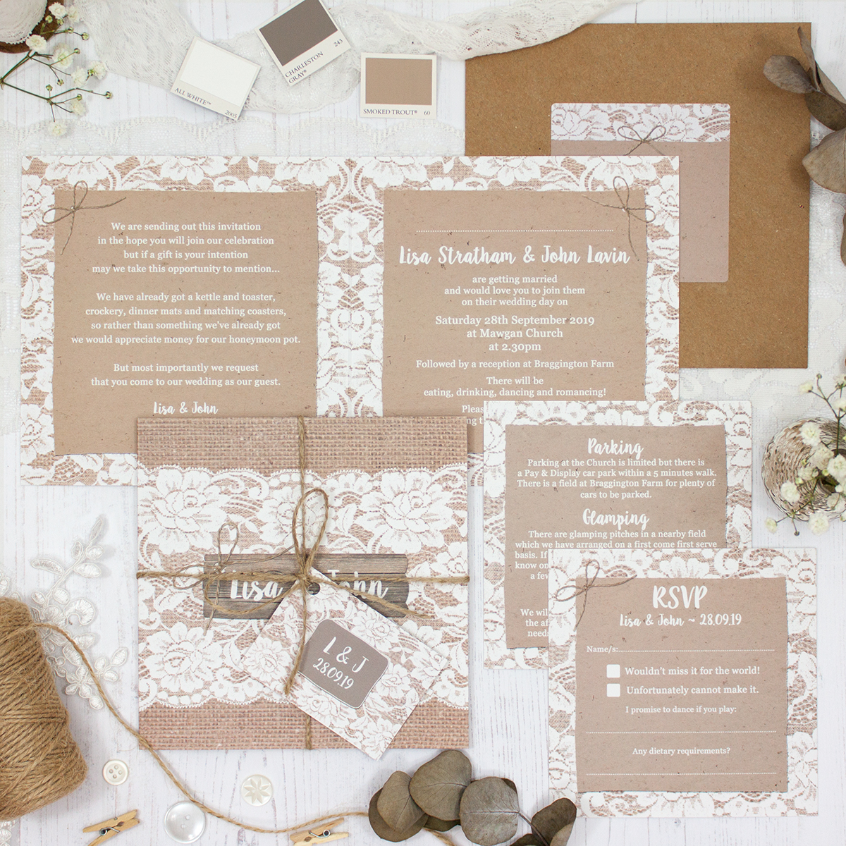 Chantilly Lace Wedding showing invitation